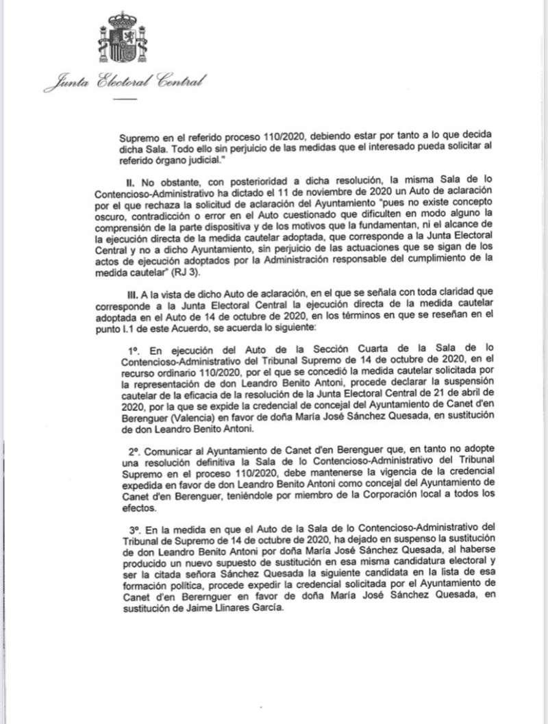Carta de la Junta Electoral 2.
