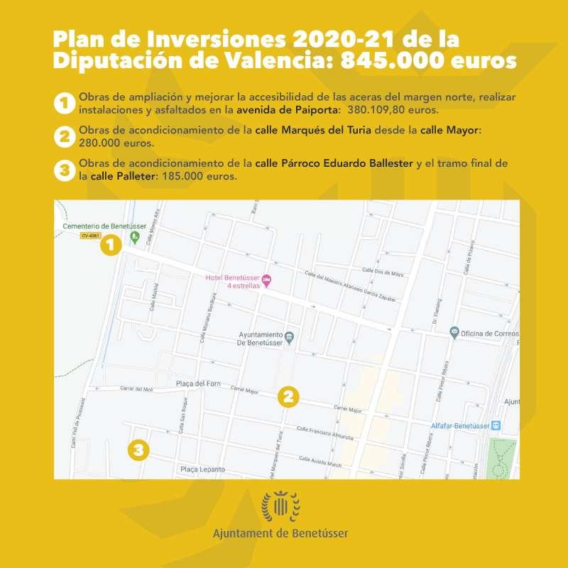 Calles afectadas por las actuaciones de mejora. EPDA