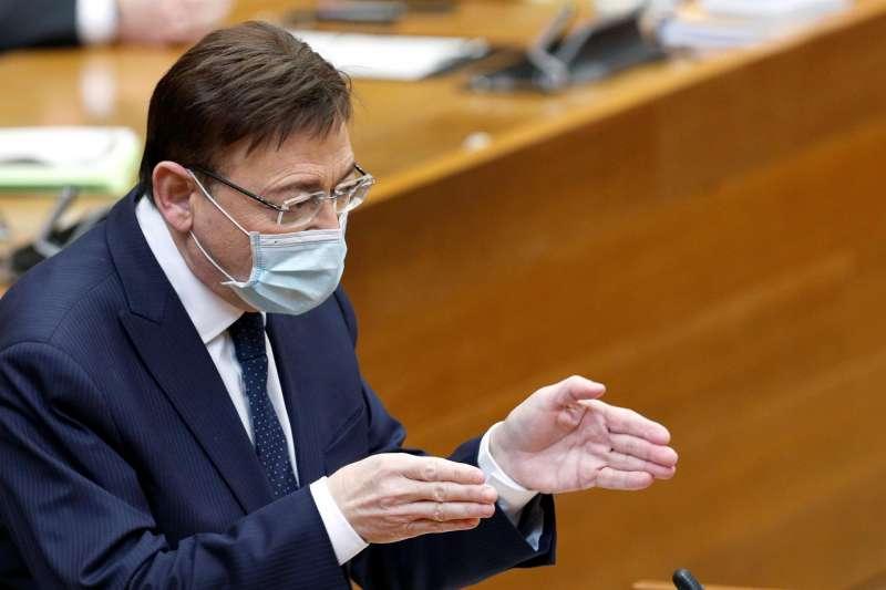 El presidente de la Genertalitat Valenciana, Ximo Puig, interviene en la sesión de control en Les Corts Valencianes.