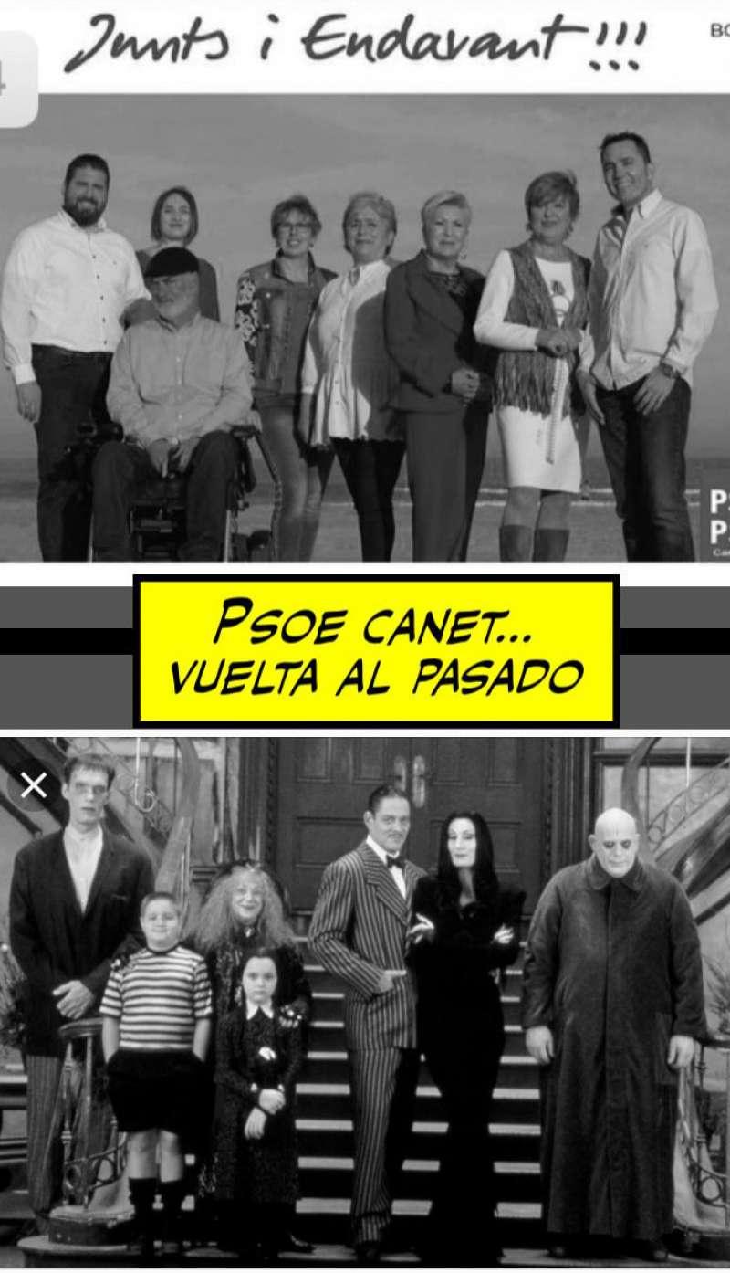 Meme comparando la lista del PSOE con la familia Adams.