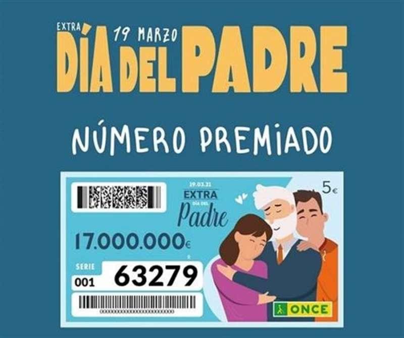 El número premiado en el sorteo de la ONCE del Día del padre. EFE