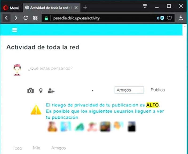Ejemplo de la alerta que genera la nueva red social PESEDIA, en una imagen de la UPV.