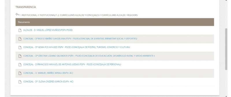 Imagen del portal de transparencia del Ayuntamiento de Altura