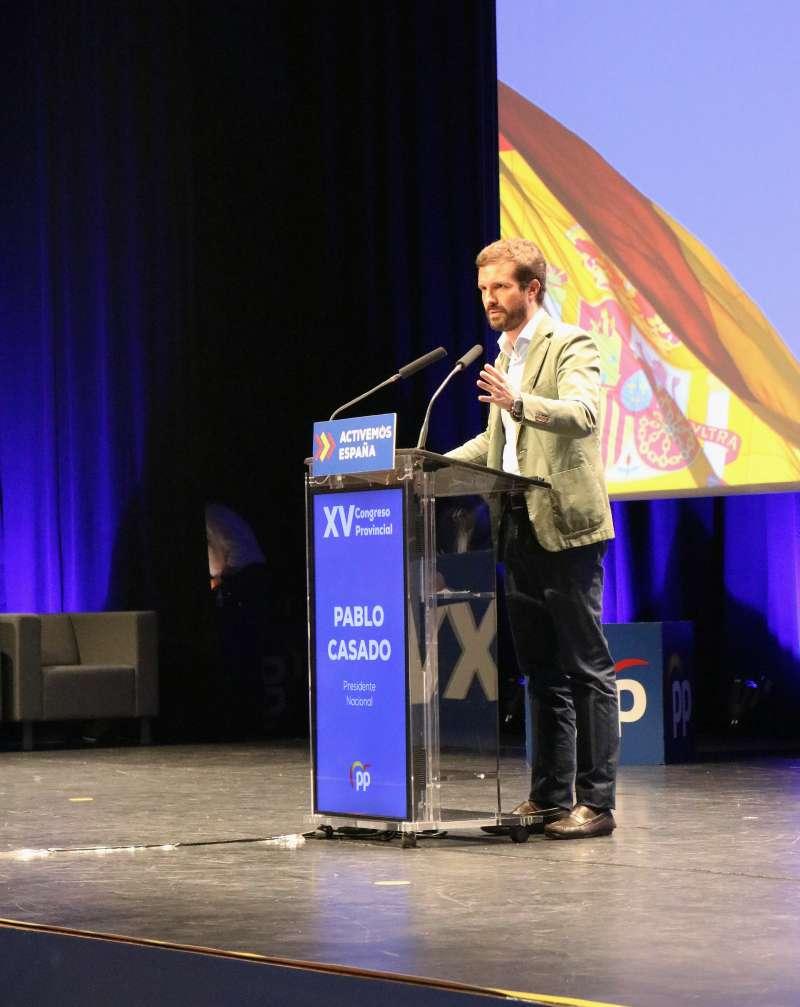 Pablo Casado hoy durante el XV Congreso Provincial del PP. EPDA.
