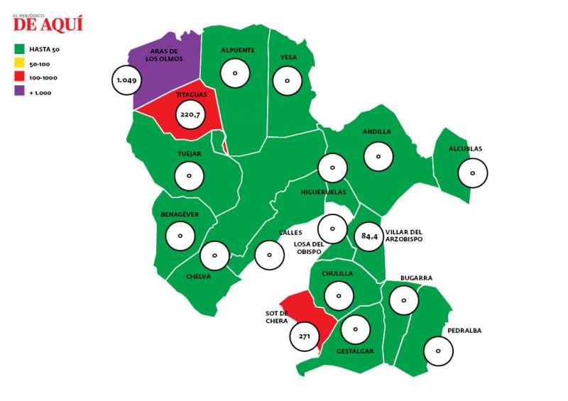 Mapa de incidencia de La Serranía. EPDA.