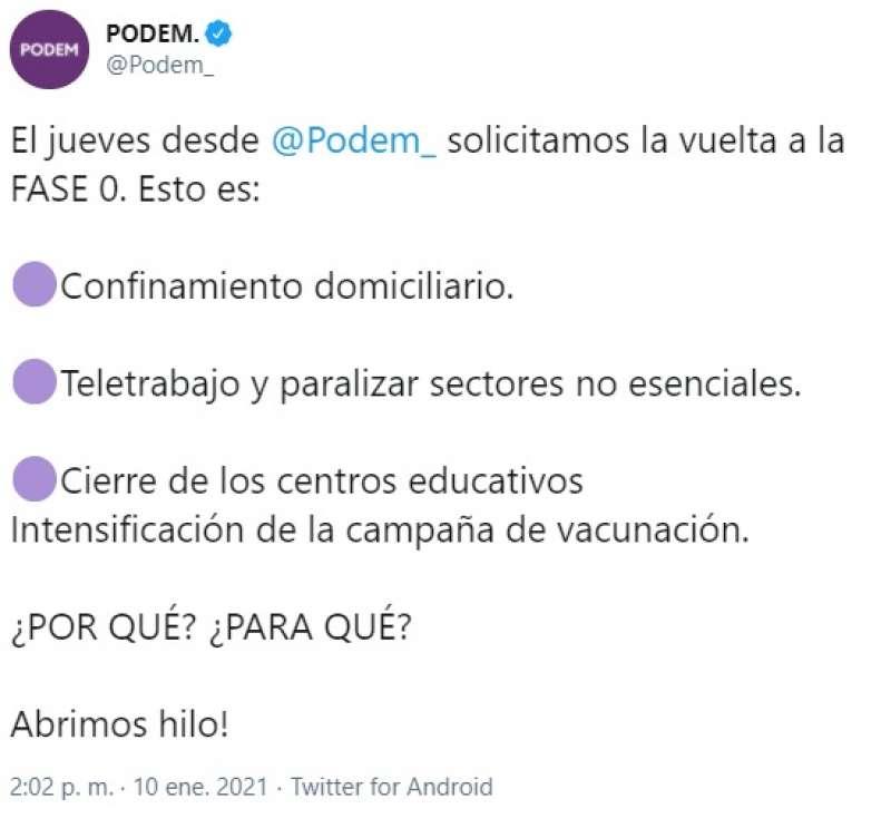 Podemos pide en Twitter el confinamiento domiciliario 1/2