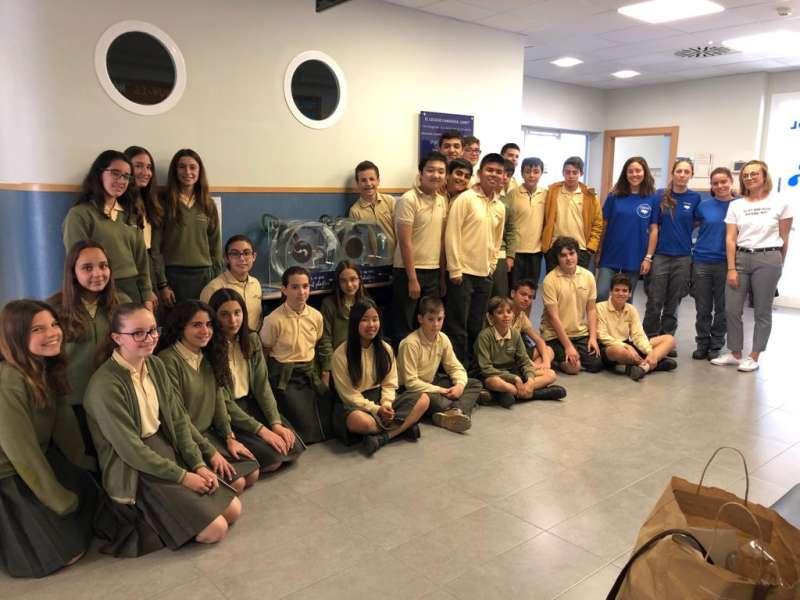 Los alumnos del colegio Camarena Canet en la Fundación Oceanogràfic. EPDA