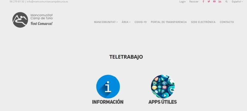 Web de teletrabajo de la Mancomunidad. / EPDA