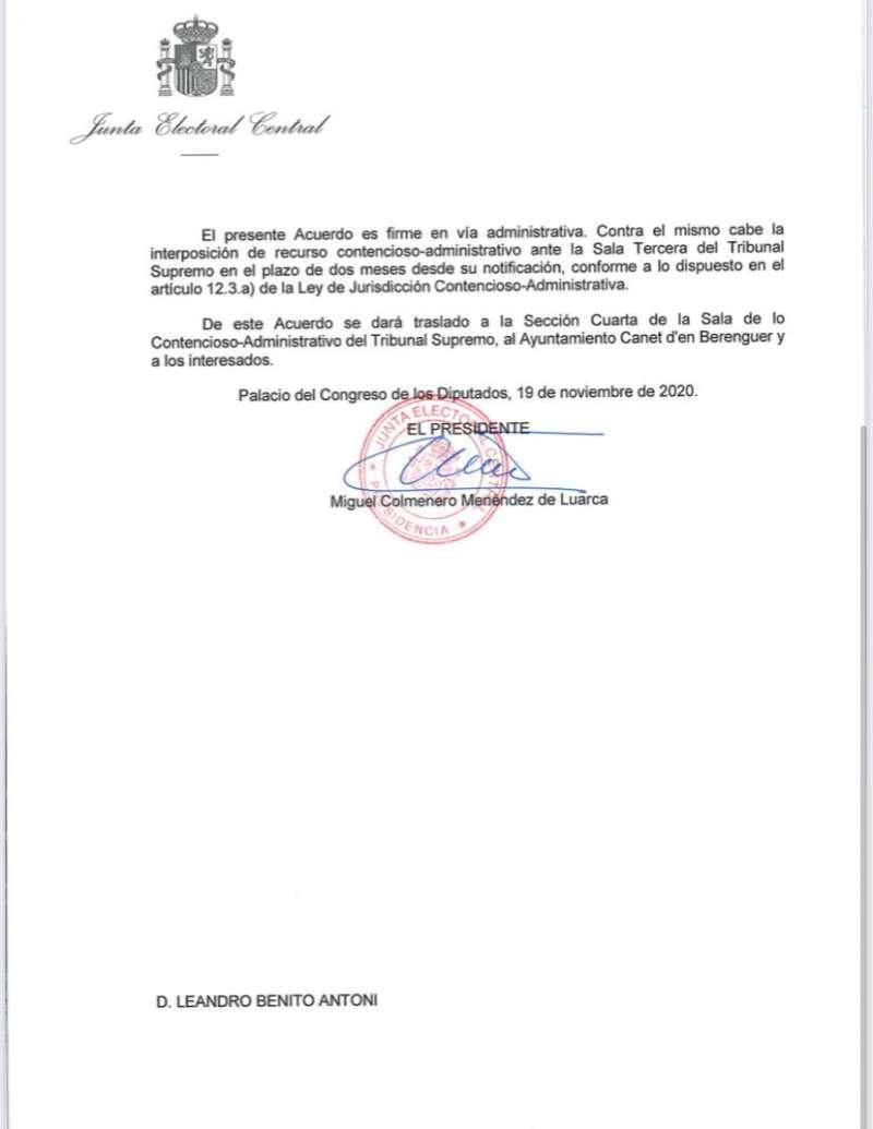 Carta de la Junta Electoral 3.