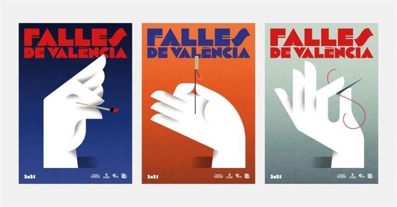 Imagen gráfica de las Fallas 2021, que homenajea el arte fallero, la pirotecnia, la indumentaria, la música y la floristería.EFE