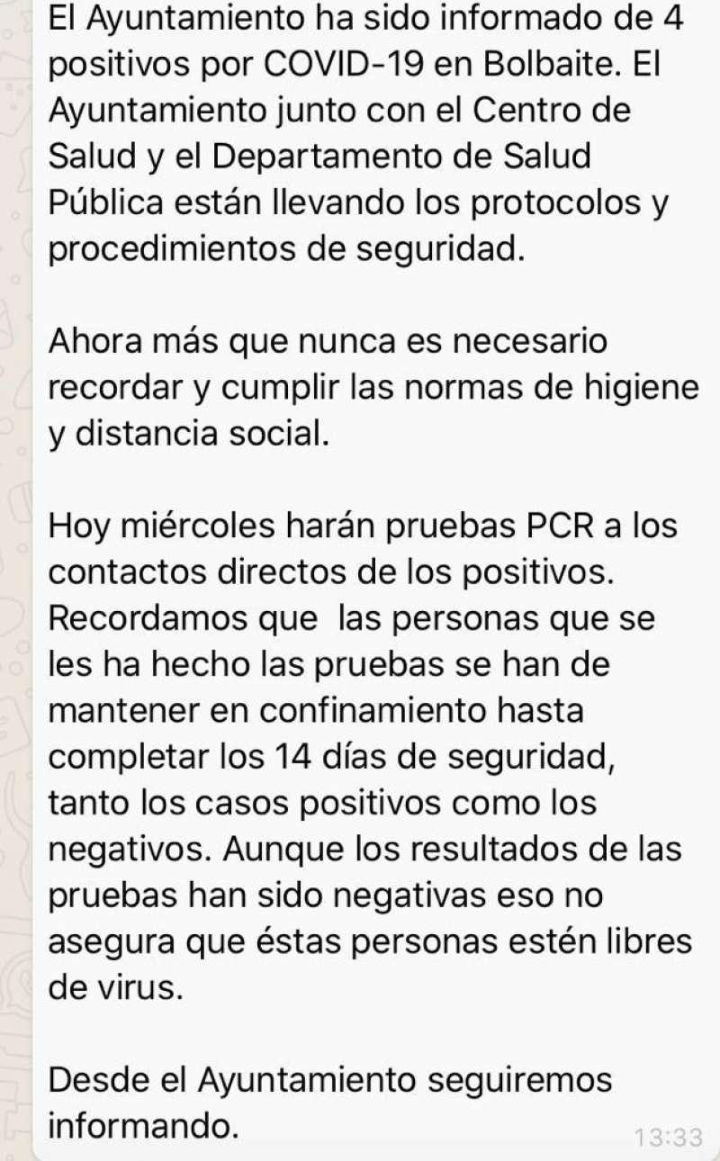 Comunicado del Ayuntamiento de Bolbaite