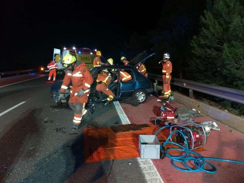 Imagen cedida por el Consorcio Provincial de Bomberos de Valencia del accident. EFE