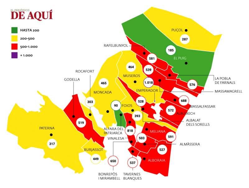 Mapa de incidencia comarcal de la Covid-19. Fuente: GVA