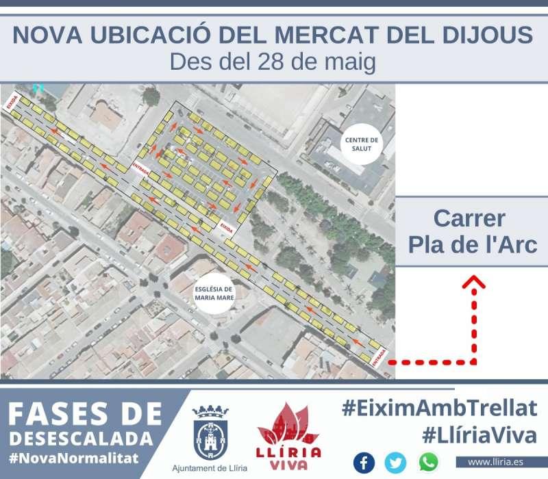 Cartel de la nueva ubicación del mercado. / EPDA