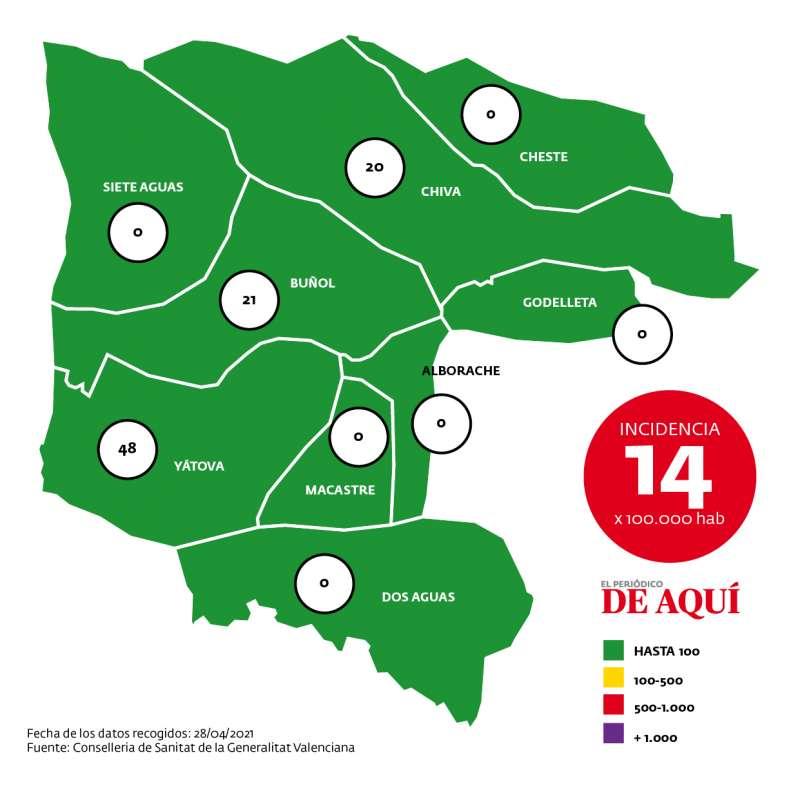 Mapa de incidencia de la comarca según datos de la Conselleria de Sanidad a fecha de 28 de abril