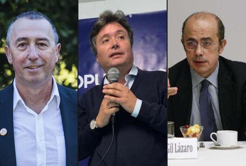 De izquierda a derecha: Joan Baldoví (Compromís), Luis Santamaría (PP) e Ignacio Gil-Lázaro (Vox). EPDA