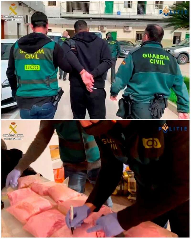 Foto cedida por la Guardia Civil de la detención en València de Erxinio G.L., un fugitivo holandés que asesinó a un joven de 26 años, que a su vez ha permitido descubrir el mayor alijo en España de la llamada