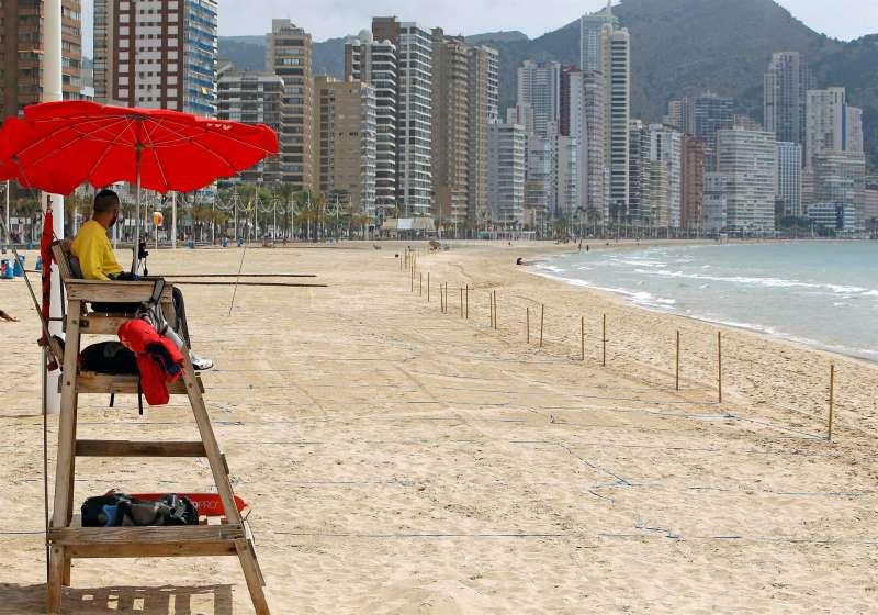 La playa de Levante en Benidorm (Alicante), en una imagen de estos días.