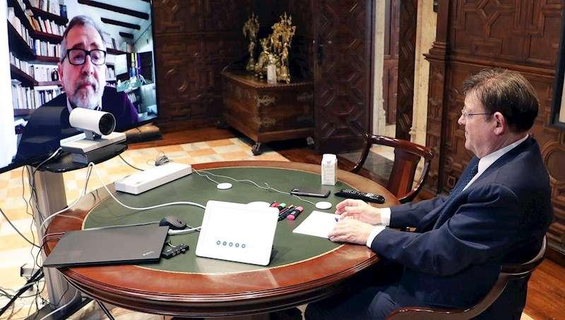 El president de la Generalitat, Ximo Puig, ha mantenido una videoconferencia con los presidentes de las diputaciones provinciales. EFE