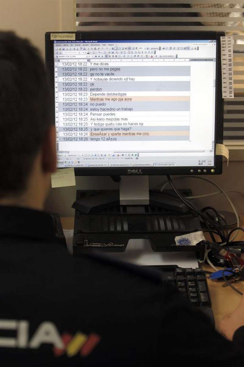 Un agente de la Policía Nacional revisa un ordenador. EFE