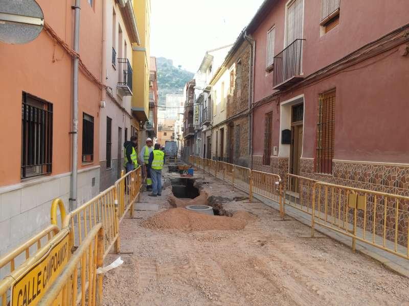 Obras en la calle Campoamor.