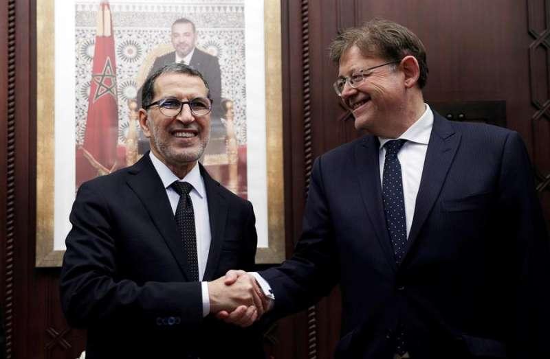 Ximo Puig con el presidente del Gobierno de Marruecos, Saadeddine Othmani, en Rabat. EFE/Juan Carlos Cárdenas