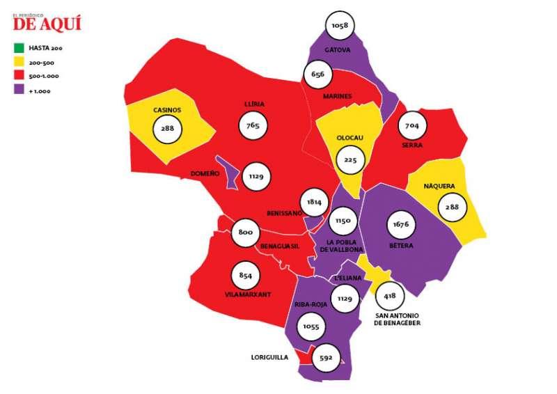 Incidencia acumulada por municipios en la comarca de Camp de Turia. / EPDA