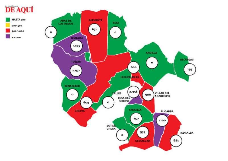 Mapa de la incidencia del coronavirus por municipios en La Serranía. / EPDA