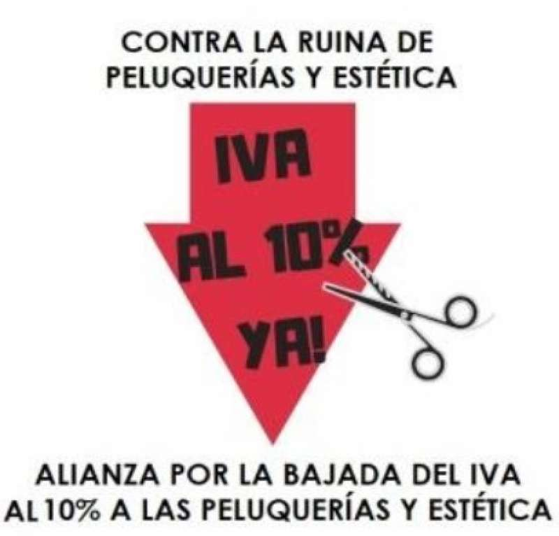 Cartel de la convocatoria de protestas del sector de la peluquería y la estética.