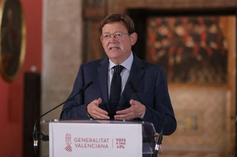 Imagen cedida por la Generaliat del president de la Generalitat durante la comparecencia. / EFE