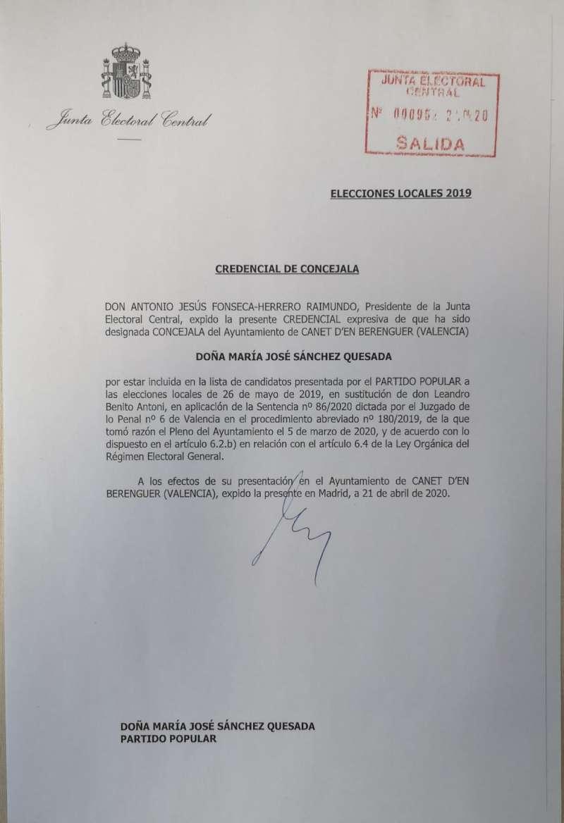Documento de la JEC que lo sustituye como concejal