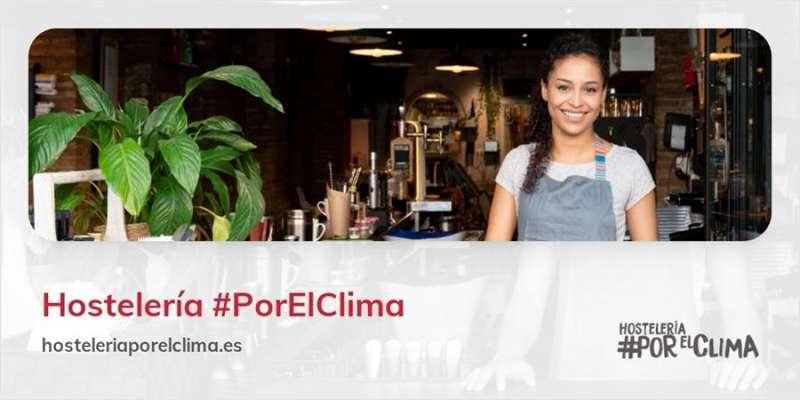 Cartel de la plataforma Hostelería #PorElClima. EFE
