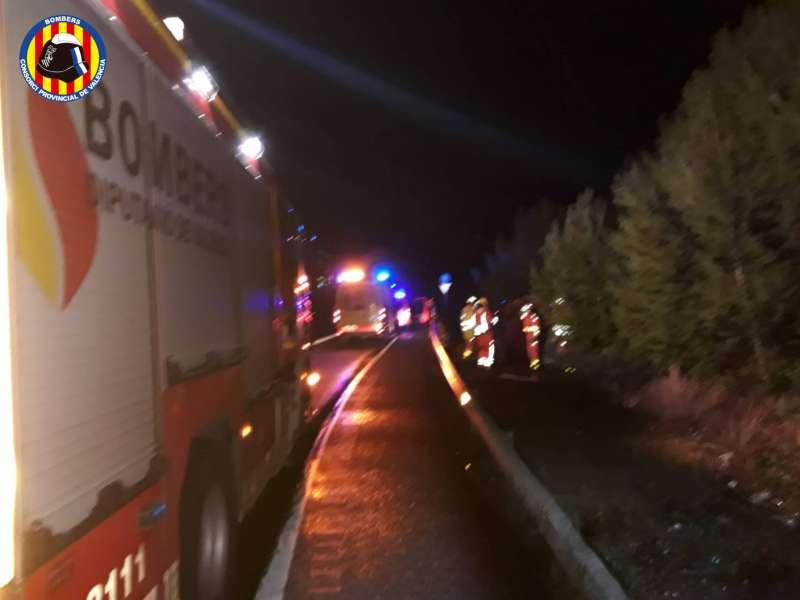 Imagen proporcionada por el Consorcio de Bomberos de Valencia sobre el accidente