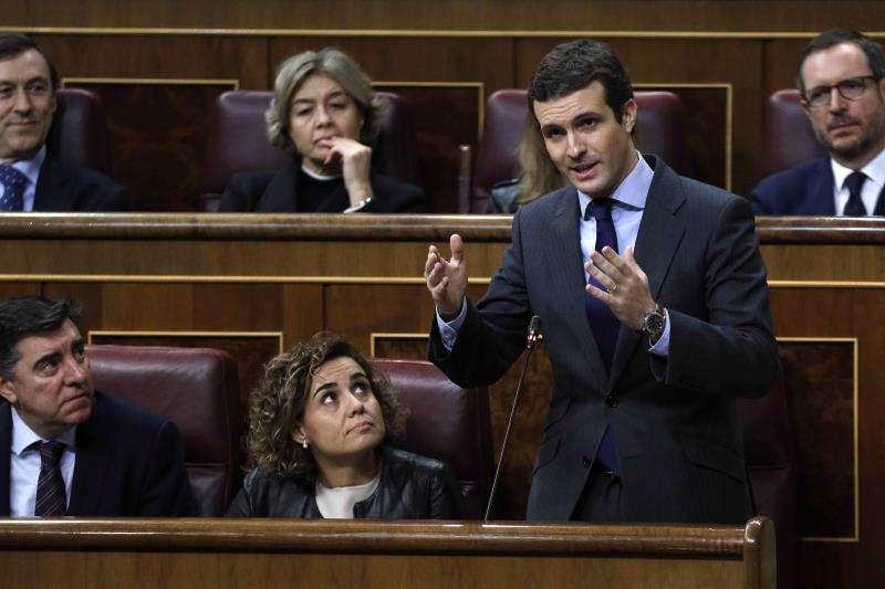 El líder del PP, Pablo Casado, en la bancada popular en el Congreso. EFE/Archivo