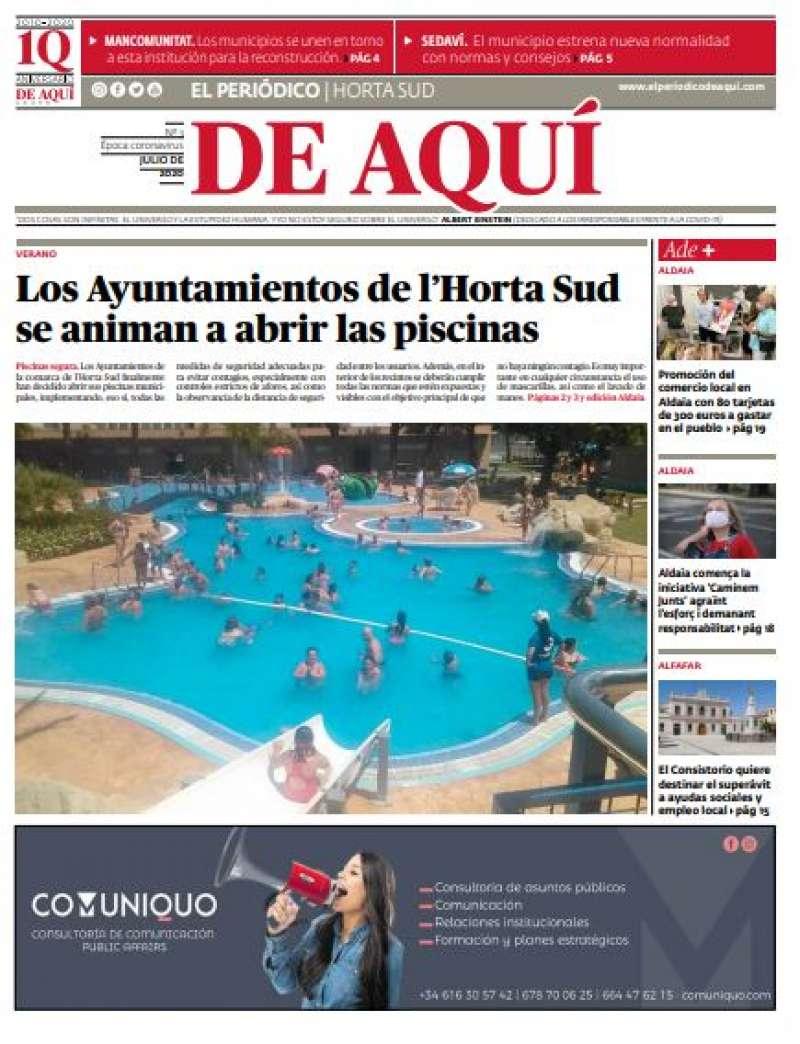 Portada de El Periódico de Aquí - Horta Sud. EPDA