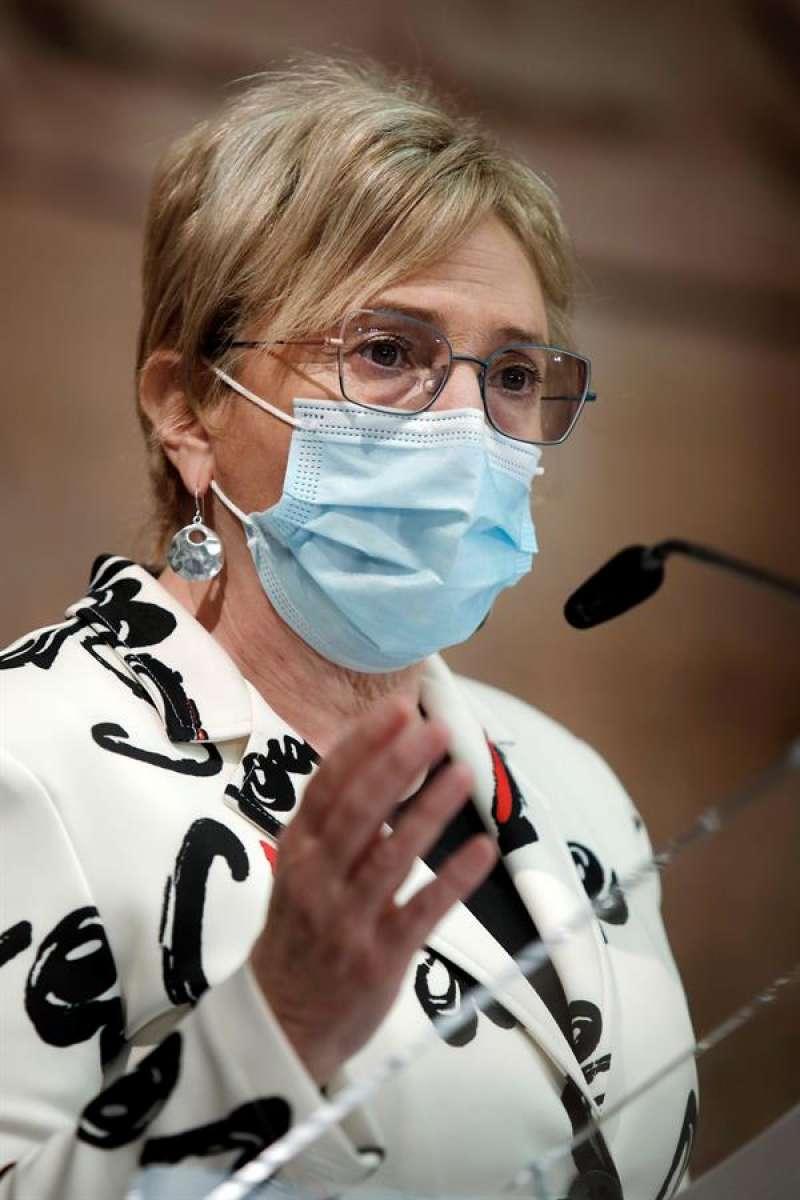 La consellera de Sanidad, Ana Barceló, durante su comparecencia tras la reunión Interpartamental de la Generalitat para la Prevención y Actuación ante la covid-19 para acordar cómo empieza la desescalada de la tercera ola del coronavirus en la Comunitat Valenciana. EFE/Biel Aliño