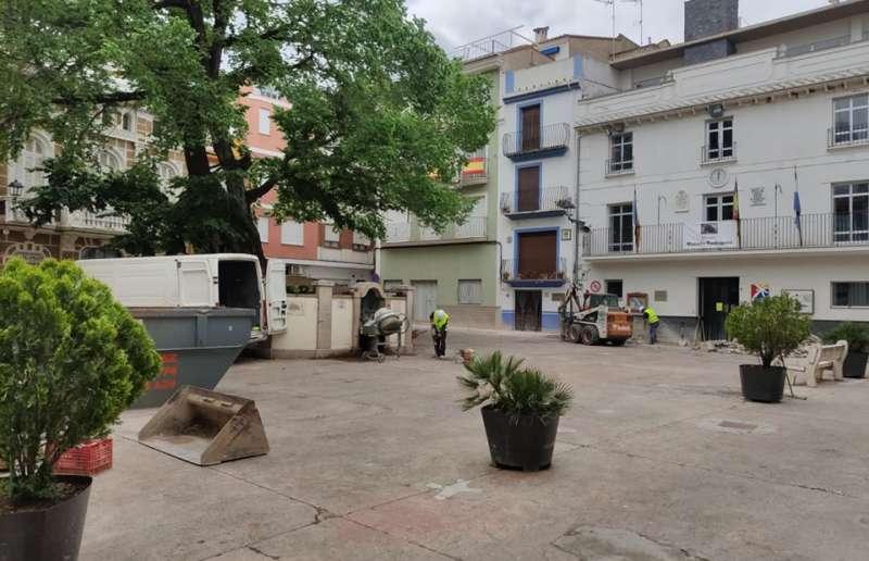 Obras en la plaza del Olmo. Foto: L.Rosalén