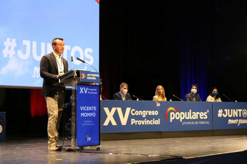 Vicente Mompó hoy durante el XV Congreso Provincial del PP. EPDA.
