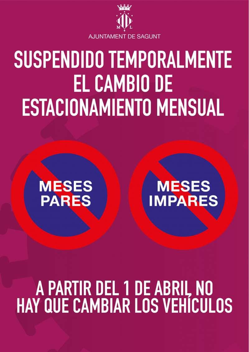 Imagen que anuncia la suspensión temporal del cambio de estacionamiento mensual.