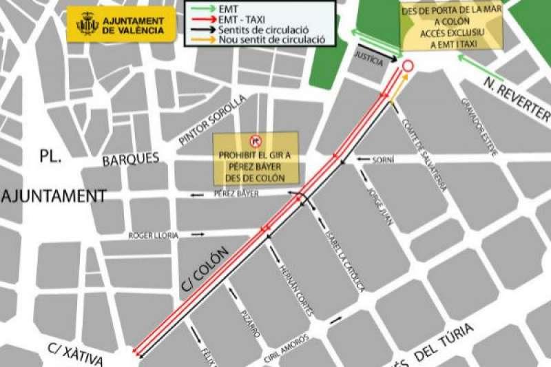 Plano de los cambios en la zona de Colón. EPDA