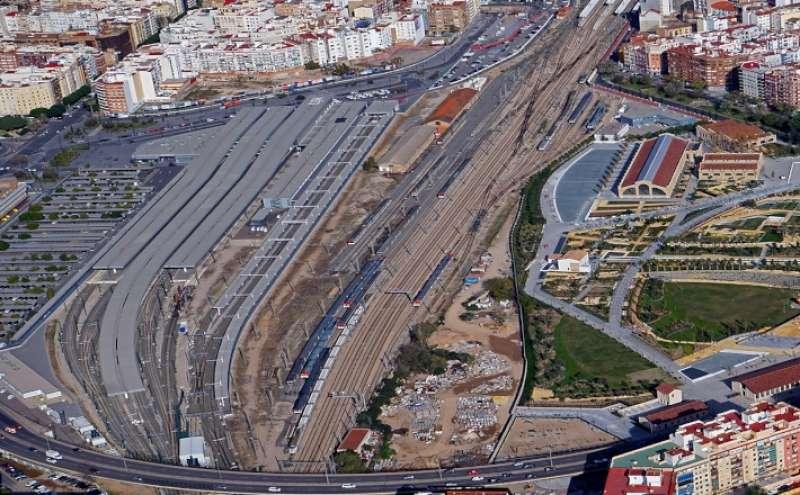 Vista aérea de la playa de vías de Valencia