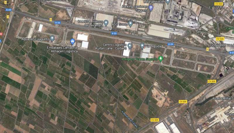 Vista aérea del polígono donde ha ocurrido el accidente
